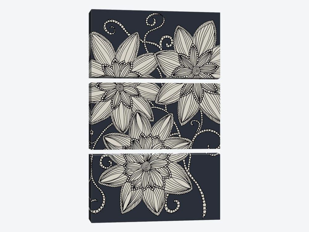 Zentangled Flowers II by Angelika Parker 3-piece Canvas Artwork
