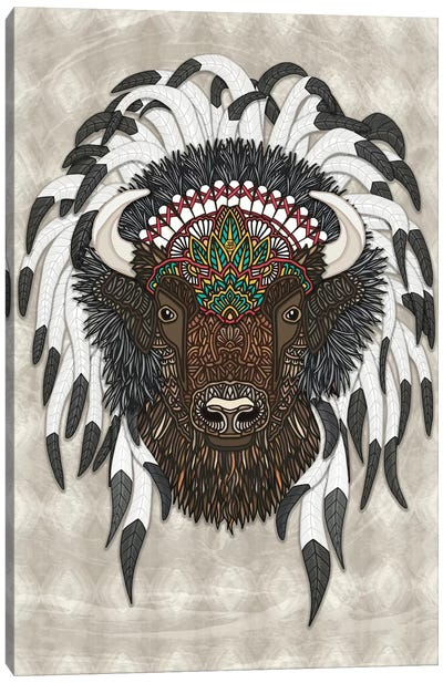 Native Bison by Angelika Parker Canvas Art Print