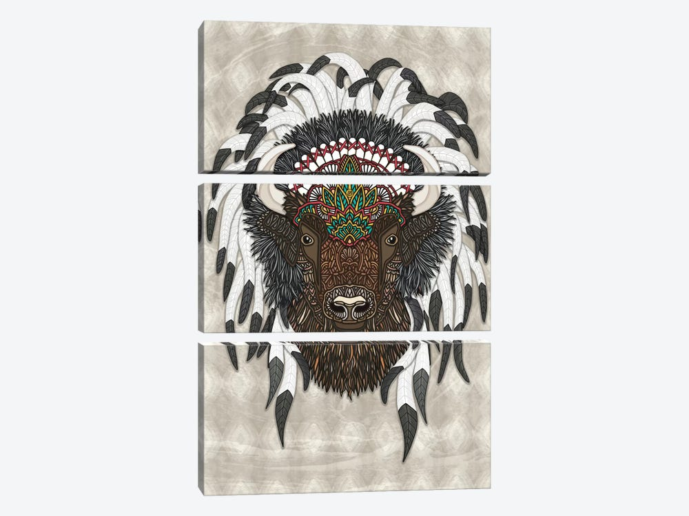 Native Bison by Angelika Parker 3-piece Canvas Art