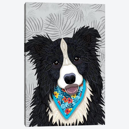 Tropical Border Collie Boy  Canvas Print #ANG193} by Angelika Parker Canvas Artwork