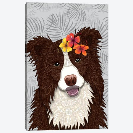 Tropical Red Border Collie Girl Canvas Print #ANG196} by Angelika Parker Art Print