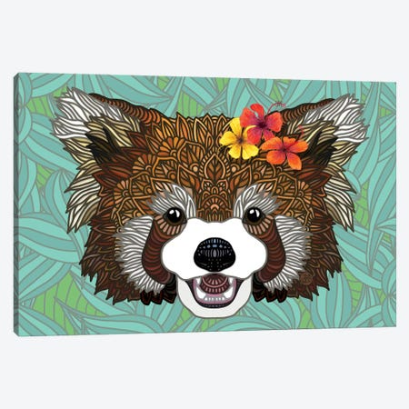 Tropical Red Panda Canvas Print #ANG197} by Angelika Parker Art Print