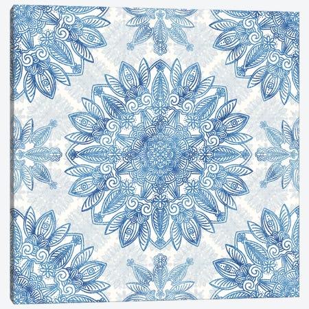 Blue Glitter Mandala Canvas Print #ANG202} by Angelika Parker Canvas Wall Art