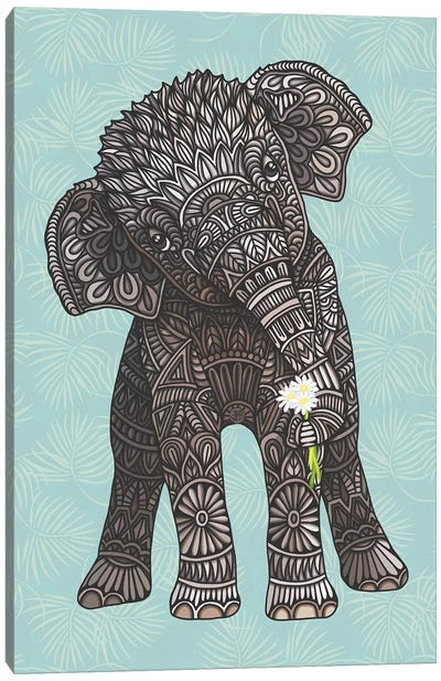 Baby Elephant - Teal by Angelika Parker Canvas Art Print