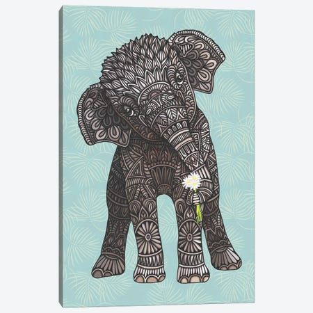 Baby Elephant - Teal Canvas Print #ANG211} by Angelika Parker Canvas Print