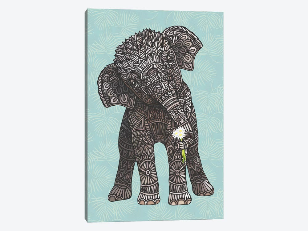 Baby Elephant - Teal by Angelika Parker 1-piece Canvas Wall Art