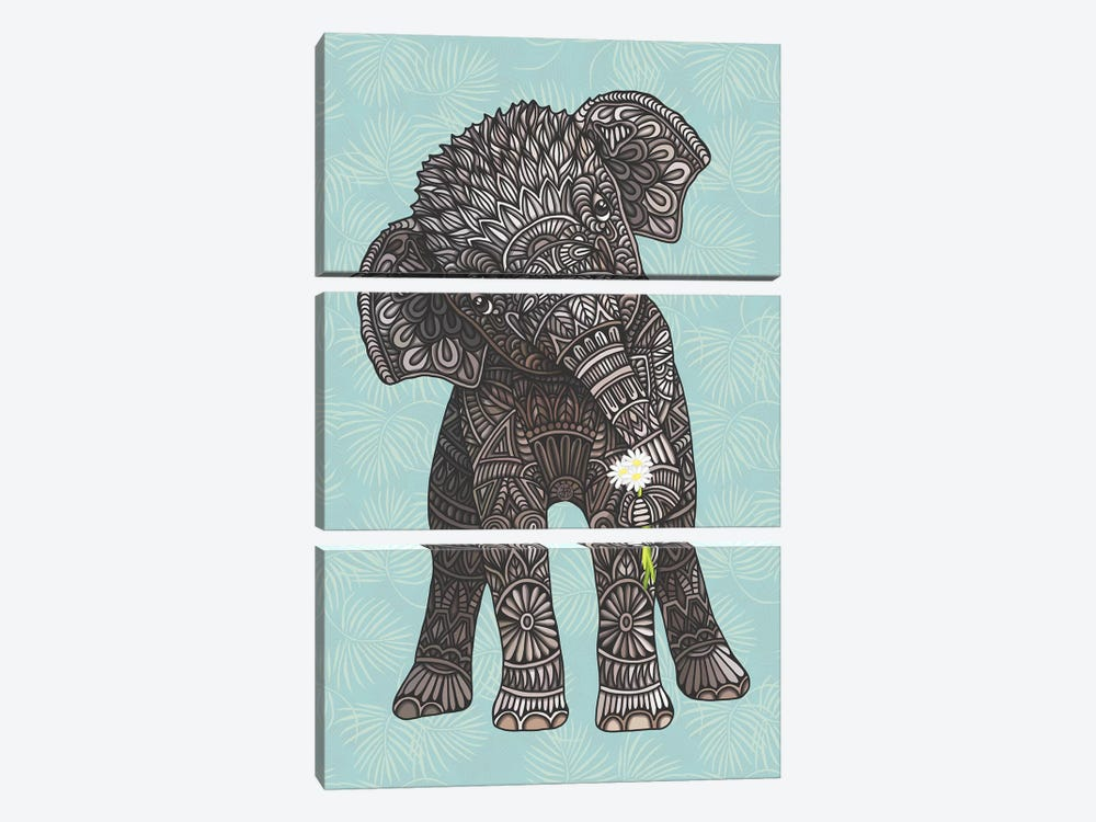 Baby Elephant - Teal by Angelika Parker 3-piece Canvas Artwork