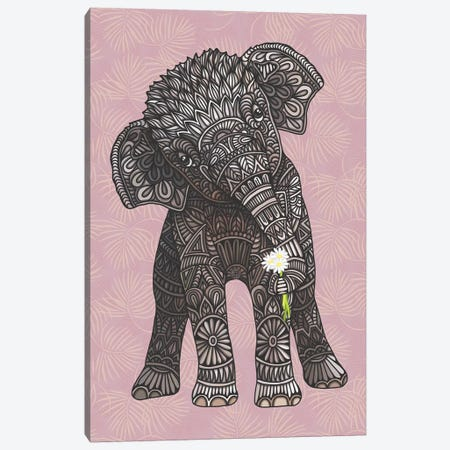 Baby Elephant - Pink Canvas Print #ANG212} by Angelika Parker Canvas Art Print