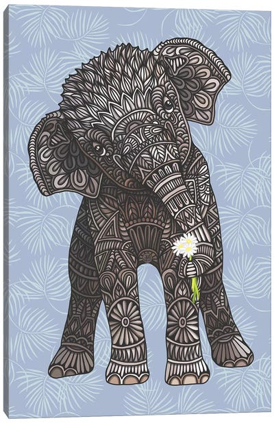Baby Elephant - Blue by Angelika Parker Canvas Art Print