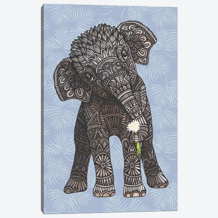 Baby Elephant - Blue Canvas Print #ANG213} by Angelika Parker Art Print