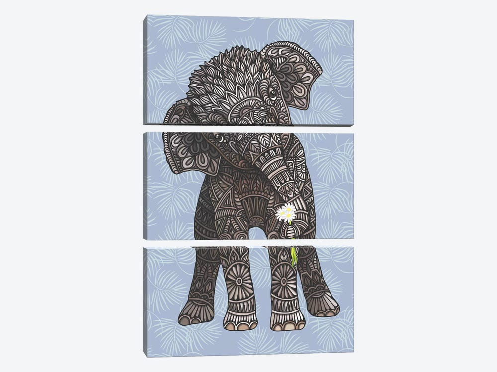 Baby Elephant - Blue by Angelika Parker 3-piece Canvas Art