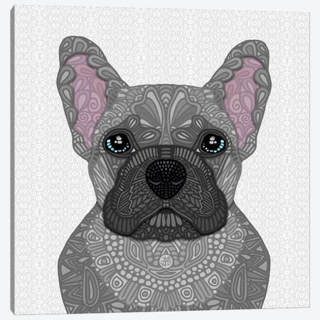 Blue Frenchie Canvas Print #ANG222} by Angelika Parker Canvas Art