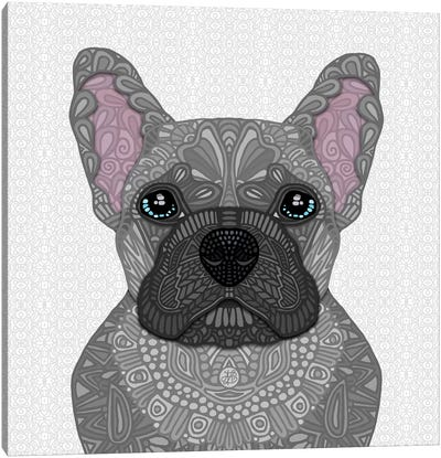 Blue Frenchie Canvas Art Print