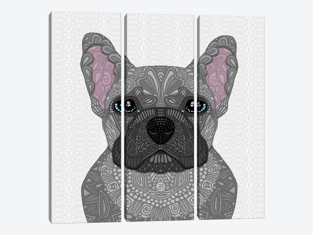 Blue Frenchie by Angelika Parker 3-piece Canvas Artwork