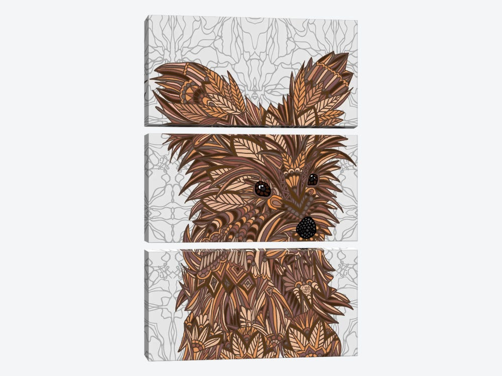 Cute Yorkie by Angelika Parker 3-piece Canvas Art