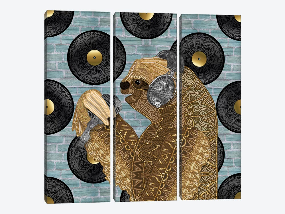 Singing Sloth by Angelika Parker 3-piece Canvas Art