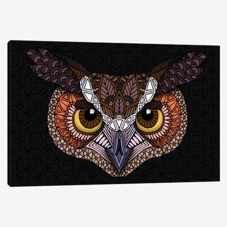 Great Horned Owl Head - Dark Horizontal Canvas Print #ANG233} by Angelika Parker Canvas Print