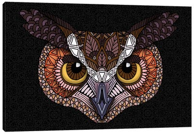 Great Horned Owl Head - Dark Horizontal Canvas Art Print
