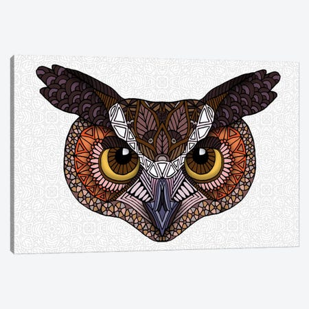 Great Horned Owl Head - Light Canvas Print #ANG234} by Angelika Parker Canvas Artwork