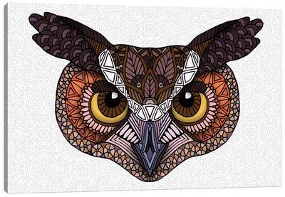 Great Horned Owl Head - Light Canvas Art Print