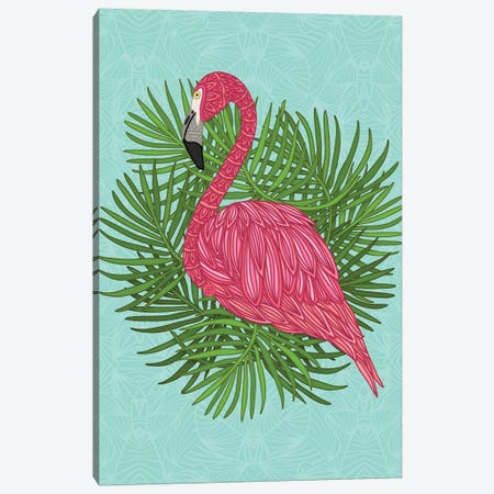 Pink Tropical Flamingo Canvas Print #ANG237} by Angelika Parker Canvas Artwork