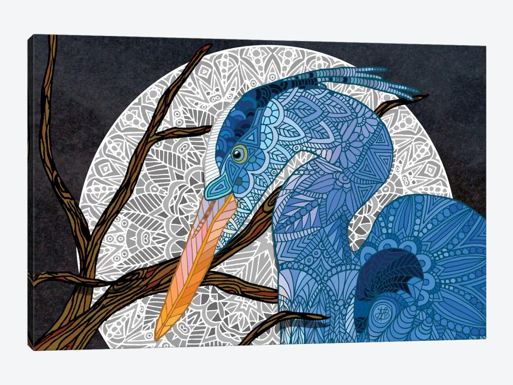 Egret Moon by Angelika Parker 1-piece Canvas Art Print
