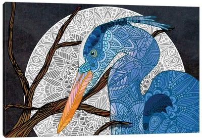 Egret Moon Canvas Art Print