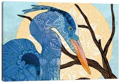 Egret Sun Canvas Art Print