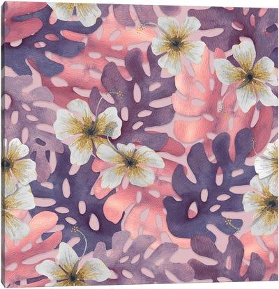 Antique Pink Hibiscus Patter Canvas Art Print