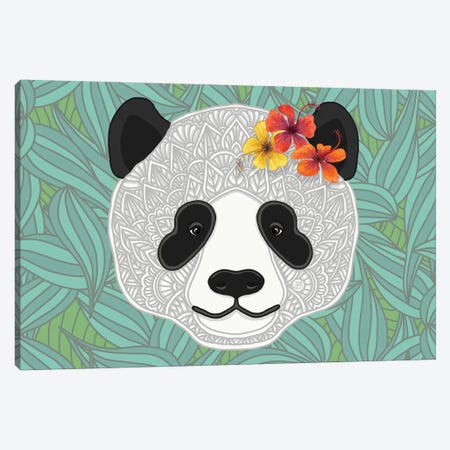 Tropical Panda Canvas Print #ANG265} by Angelika Parker Canvas Art Print