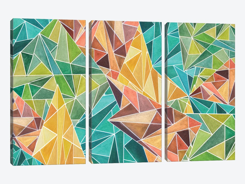 Fall Into Triangles by Angelika Parker 3-piece Canvas Print