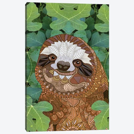Happy Sloth Canvas Print #ANG282} by Angelika Parker Canvas Wall Art