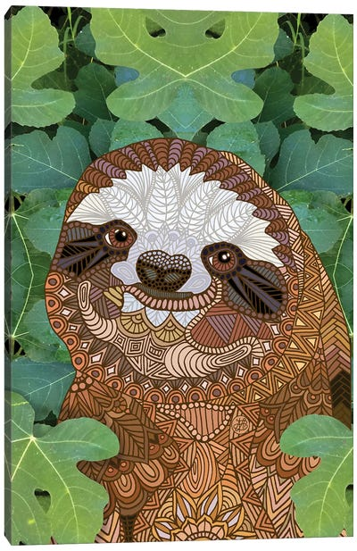 Happy Sloth Canvas Art Print