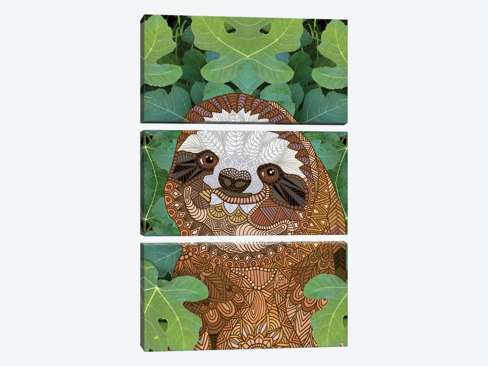 Happy Sloth by Angelika Parker 3-piece Canvas Wall Art