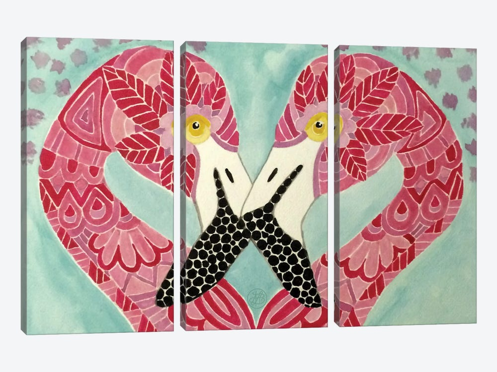 Flamingos by Angelika Parker 3-piece Canvas Wall Art