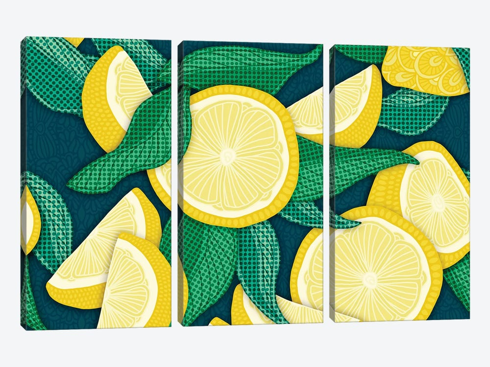 Pop Art Lemons by Angelika Parker 3-piece Canvas Art Print