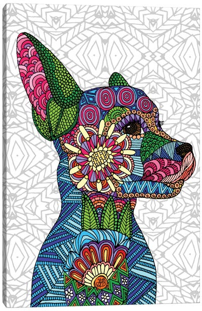 Folk Art Puppy Canvas Art Print