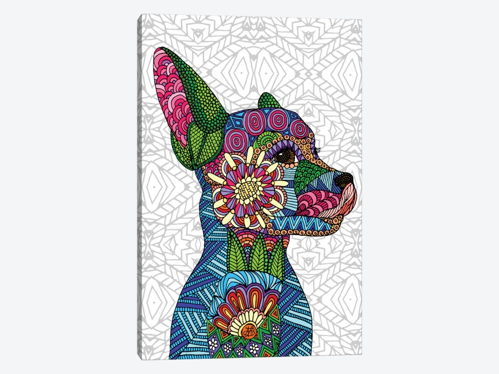 Folk Art Puppy by Angelika Parker 1-piece Art Print