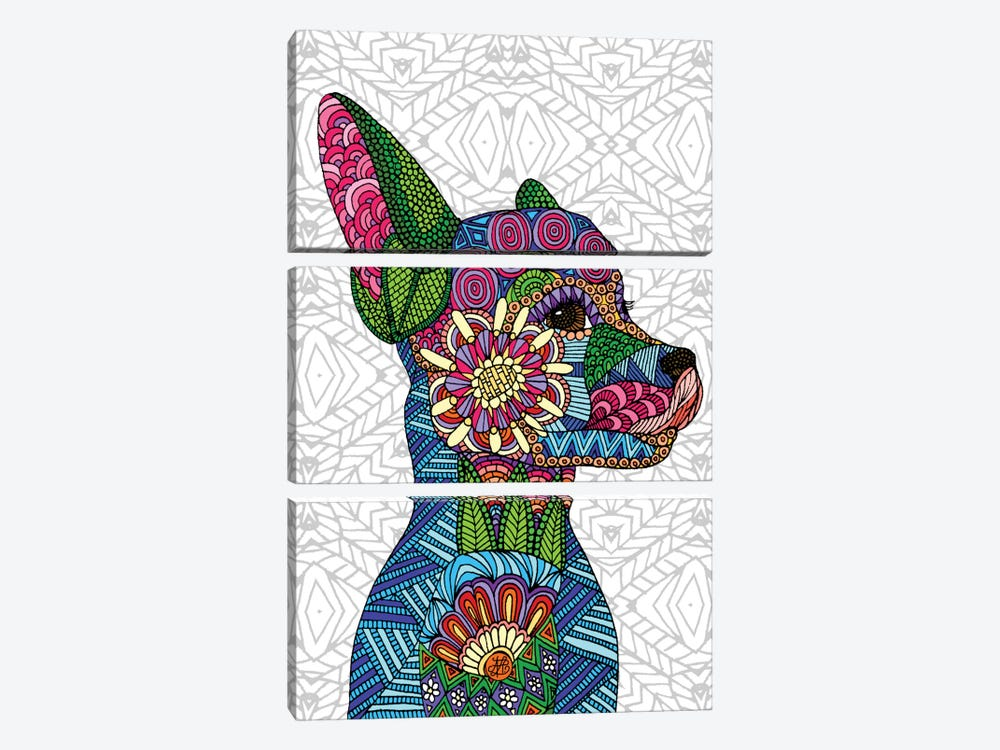 Folk Art Puppy by Angelika Parker 3-piece Art Print