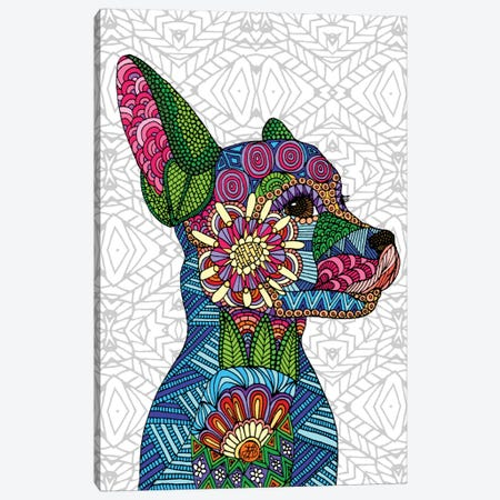 Folk Art Puppy Canvas Print #ANG29} by Angelika Parker Canvas Art Print