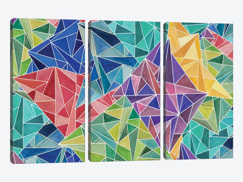 Geometric Rainbow by Angelika Parker 3-piece Canvas Wall Art