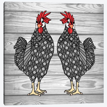 Gray Chicken Canvas Print #ANG38} by Angelika Parker Canvas Art