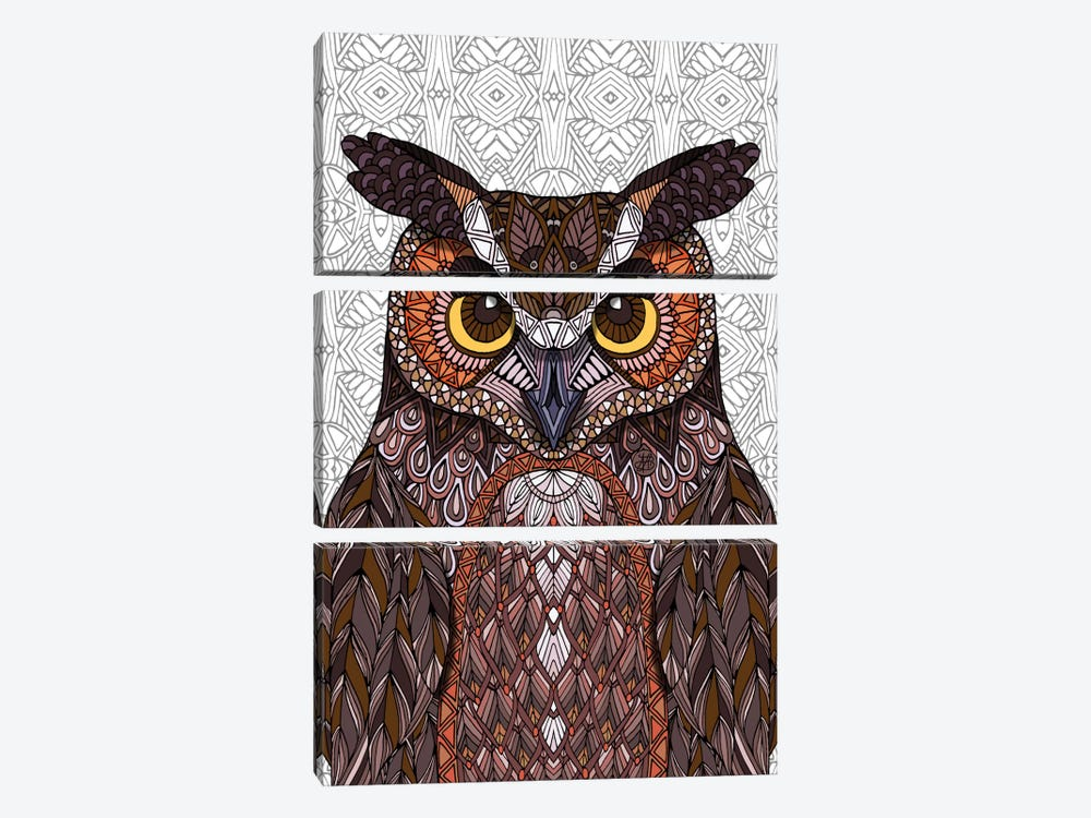 Great Horned Owl by Angelika Parker 3-piece Canvas Artwork