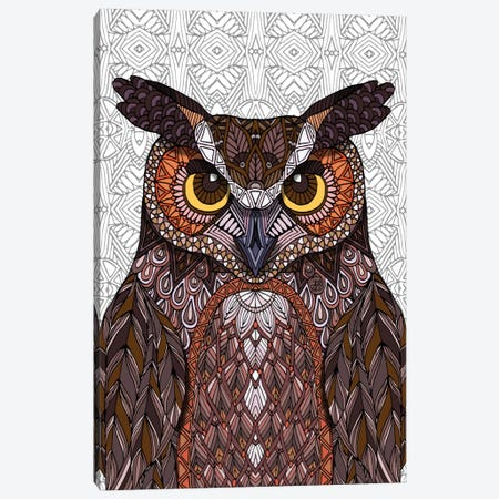 Great Horned Owl Canvas Print #ANG39} by Angelika Parker Canvas Wall Art