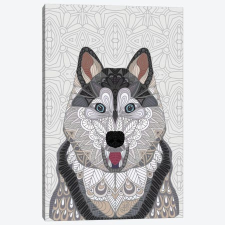 Happy Husky Canvas Print #ANG44} by Angelika Parker Canvas Artwork