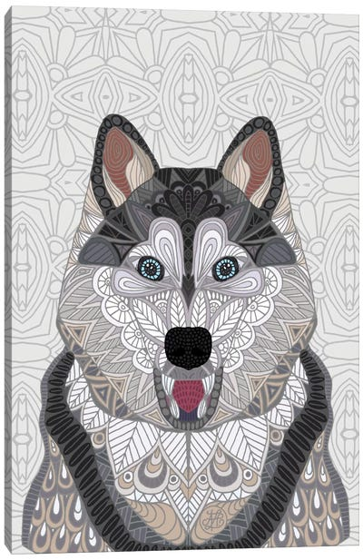 Happy Husky Canvas Art Print