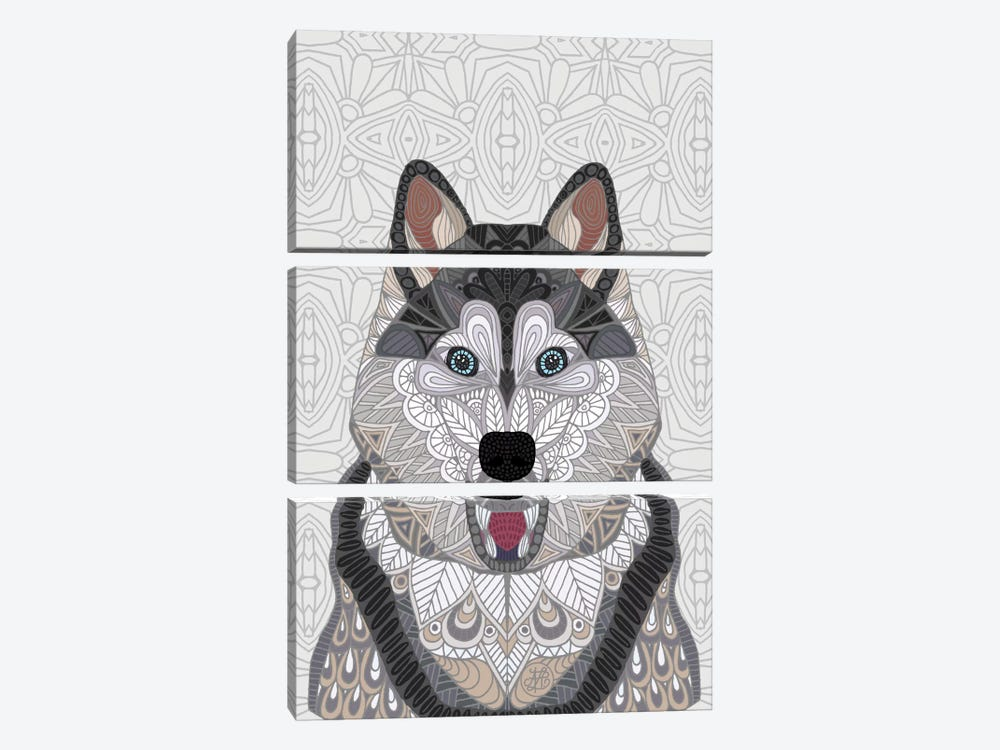 Happy Husky by Angelika Parker 3-piece Canvas Art
