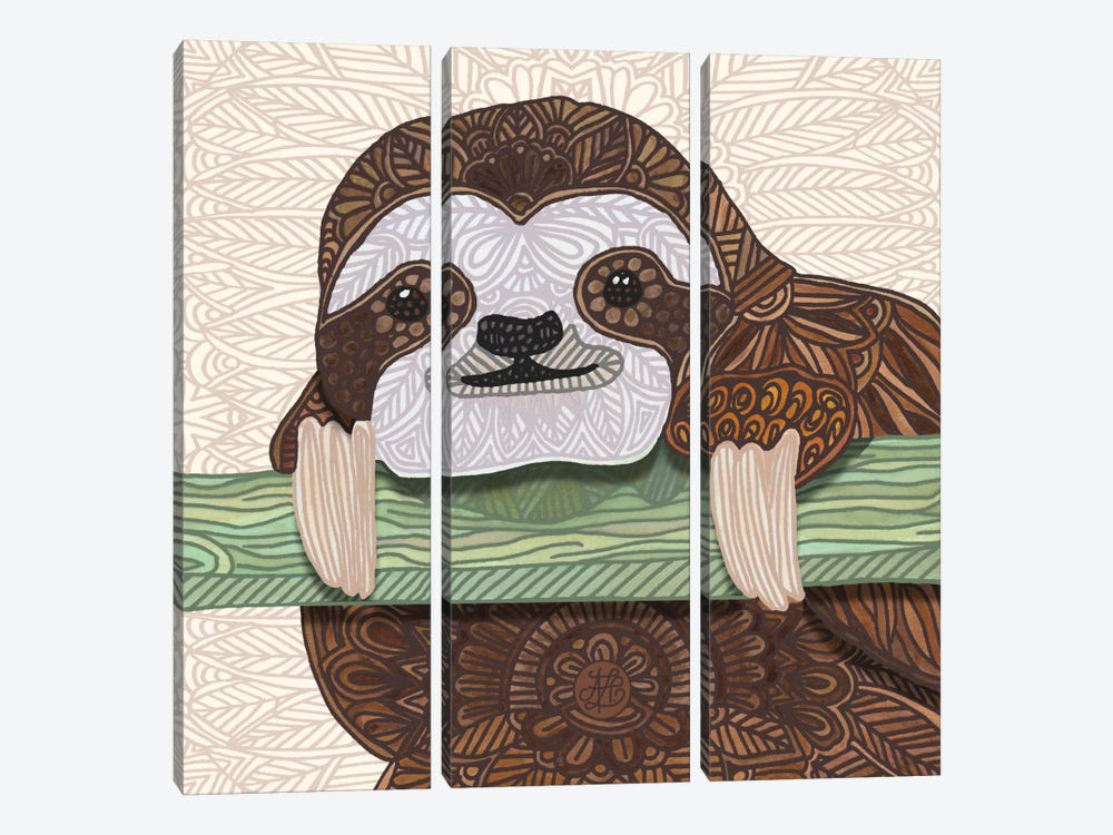 It's A Sloth Kind Of Day by Angelika Parker 3-piece Canvas Print