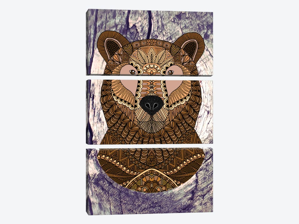 Ornate Brown Bear by Angelika Parker 3-piece Canvas Art Print