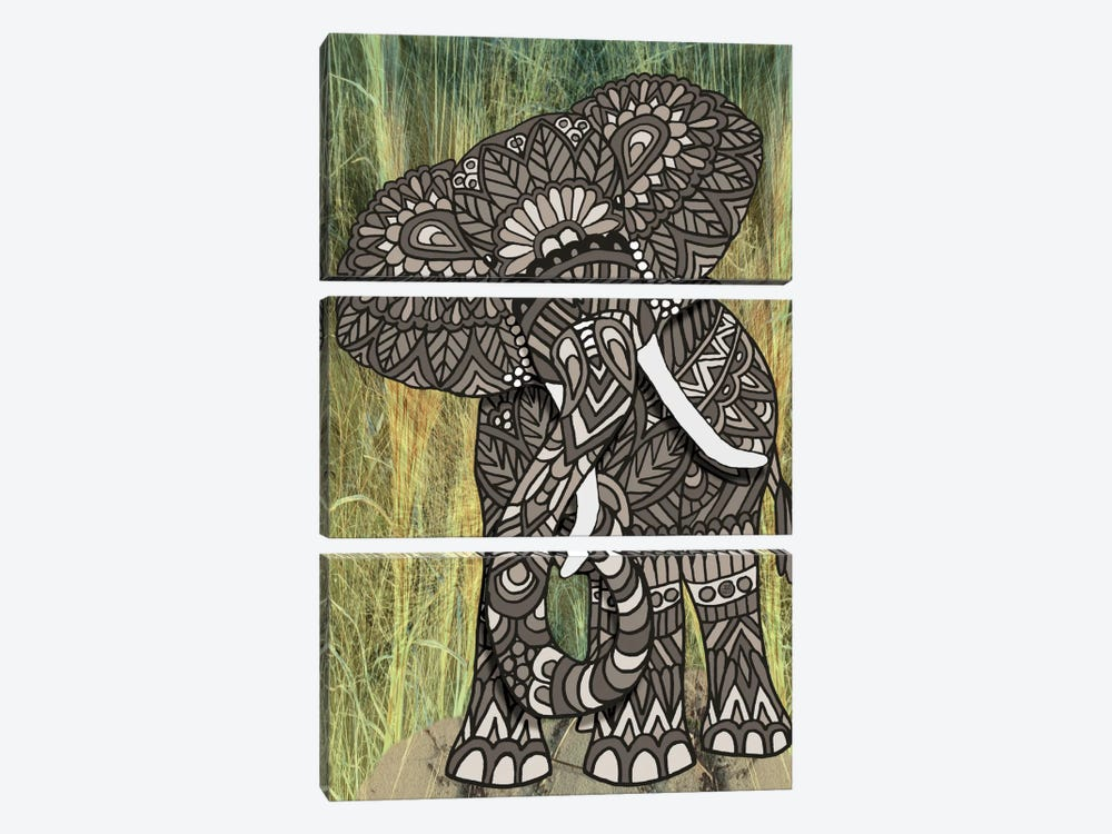 Ornate Elephant by Angelika Parker 3-piece Canvas Art Print